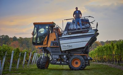 standing on harvester